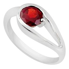0.90cts natural red garnet 925 sterling silver solitaire ring size 8 p37337