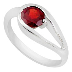 0.91cts natural red garnet 925 sterling silver solitaire ring size 6 p37338