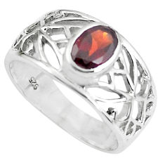 1.45cts natural red garnet 925 sterling silver solitaire ring size 5.5 p62219