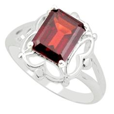 3.19cts natural red garnet 925 sterling silver solitaire ring size 6.5 p62288
