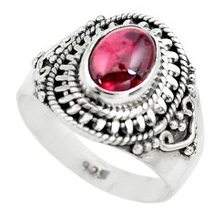 2.12cts natural red garnet 925 sterling silver solitaire ring size 6.5 p71801