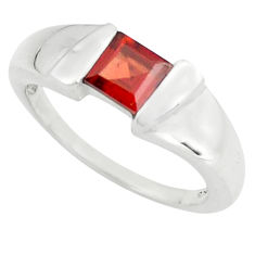 1.00cts natural red garnet 925 sterling silver solitaire ring size 7.5 p73002