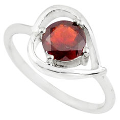 1.49cts natural red garnet 925 sterling silver solitaire ring size 6.5 p73103