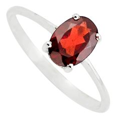 2.13cts natural red garnet 925 sterling silver solitaire ring size 7.5 p73330