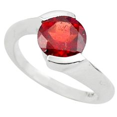 3.01cts natural red garnet 925 sterling silver solitaire ring size 5.5 p73454