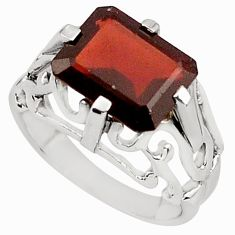 5.41cts natural red garnet 925 sterling silver solitaire ring size 7.5 p81715