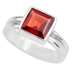 2.95cts natural red garnet 925 sterling silver solitaire ring size 6.5 p81872