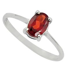 1.51cts natural red garnet 925 sterling silver solitaire ring size 7 p81991