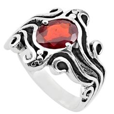 3.08cts natural red garnet 925 sterling silver solitaire ring size 5.5 p82734