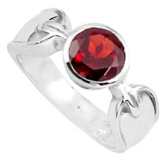2.63cts natural red garnet 925 sterling silver solitaire ring size 9 p82749
