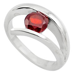 0.97cts natural red garnet 925 sterling silver solitaire ring size 8 p82782