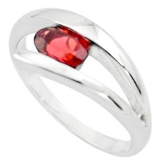 1.57cts natural red garnet 925 sterling silver solitaire ring size 8.5 p82988