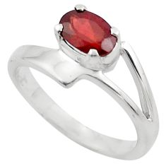 1.59cts natural red garnet 925 sterling silver solitaire ring size 5.5 p83021