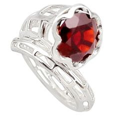 5.38cts natural red garnet 925 sterling silver solitaire ring size 6 p83161