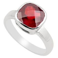 3.06cts natural red garnet 925 sterling silver solitaire ring size 5.5 p83317