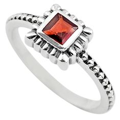 0.43cts natural red garnet 925 sterling silver solitaire ring size 7.5 p83602