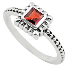 0.43cts natural red garnet 925 sterling silver solitaire ring size 7.5 p83603