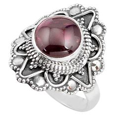 4.74cts natural red garnet 925 sterling silver solitaire ring size 8 p85922