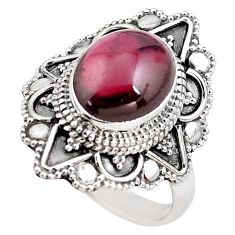 5.53cts natural red garnet 925 sterling silver solitaire ring size 8.5 p85931