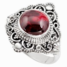 4.94cts natural red garnet 925 sterling silver solitaire ring size 8.5 p85981