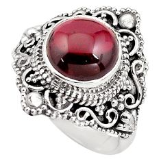 4.94cts natural red garnet 925 sterling silver solitaire ring size 7 p85987