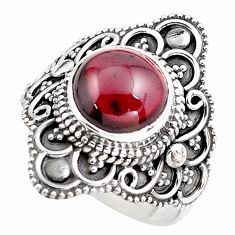 4.66cts natural red garnet 925 sterling silver solitaire ring size 7 p86862