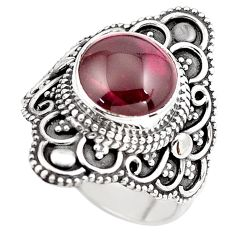 4.74cts natural red garnet 925 sterling silver solitaire ring size 5.5 p86866