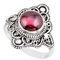 4.91cts natural red garnet 925 sterling silver solitaire ring size 10 p86883