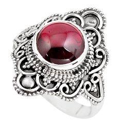 4.69cts natural red garnet 925 sterling silver solitaire ring size 7.5 p86887