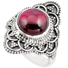 4.70cts natural red garnet 925 sterling silver solitaire ring size 5.5 p86903