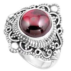 4.90cts natural red garnet 925 sterling silver solitaire ring size 6 p86925