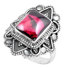 4.21cts natural red garnet 925 sterling silver solitaire ring size 8 p86926
