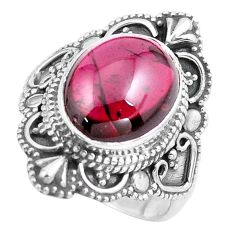 5.52cts natural red garnet 925 sterling silver solitaire ring size 7.5 p86927