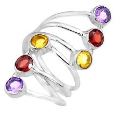 5.18cts natural red garnet amethyst citrine 925 silver ring size 8.5 p77770