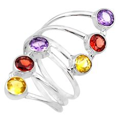 5.35cts natural red garnet amethyst citrine 925 silver ring size 9 p77774