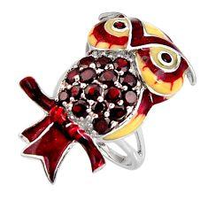 4.63cts natural red garnet enamel 925 sterling silver owl ring size 7 c5556