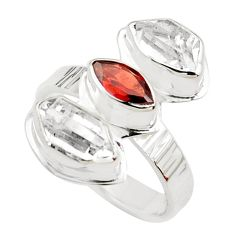 9.32cts natural red garnet herkimer diamond 925 silver ring size 8 p70901