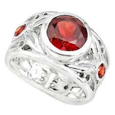 3.63cts natural red garnet round 925 sterling silver ring size 5.5 p73139