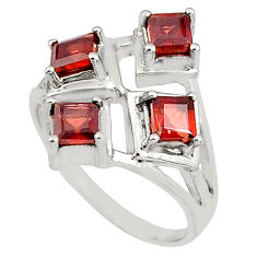 2.41cts natural red garnet square 925 sterling silver ring jewelry size 8 p81726
