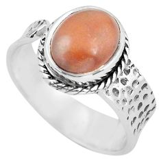 4.30cts natural red jasper 925 silver solitaire adjustable ring size 8 p57749