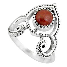 1.21cts natural red jasper 925 sterling silver solitaire ring size 7.5 p57823