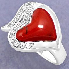NATURAL RED MOOKAITE WHITE TOPAZ 925 SILVER HEART RING JEWELRY SIZE 7 H3901