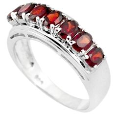 NATURAL RED RHODOLITE 925 STERLING SILVER WEDDING BAND RING JEWELRY SIZE 7 H2653