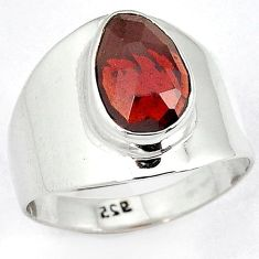 NATURAL RED RHODOLITE PEAR CUT 925 STERLING SILVER RING JEWELRY SIZE 8.5 H43579