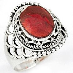 NATURAL RED RHODOLITE ROUND 925 STERLING SILVER RING JEWELRY SIZE 8.5 H43577
