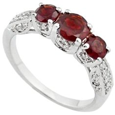 NATURAL RED RHODOLITE WHITE TOPAZ 925 STERLING SILVER RING SIZE 5.5 H2596