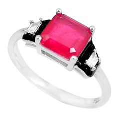 4.18cts natural red ruby (lab) topaz enamel 925 silver ring size 7 c2656