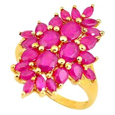7.40cts natural red ruby 925 sterling silver 14k gold ring size 6.5 c3866