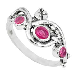1.58cts natural red ruby 925 sterling silver ring jewelry size 9 p69786