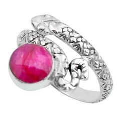 3.61cts natural red ruby 925 sterling silver snake solitaire ring size 9 p62906